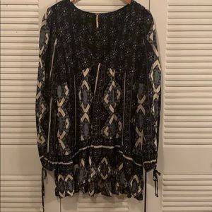 Free People black and blue flowing blouse